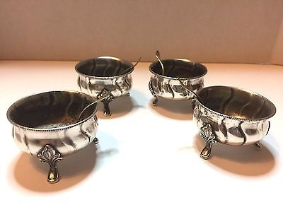 Set of 4 1930's Denmark Sterling Silver Salts With Spoons 4.37 troy oz. 136 g