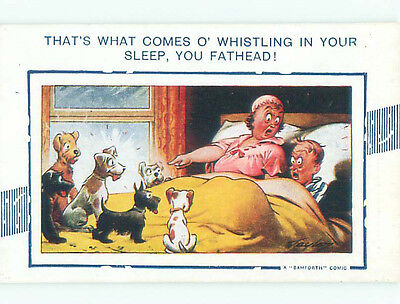 Unused Bamforth comic signed LOTS OF DOGS IN BED WITH COUPLE k7943