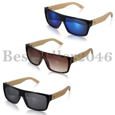 Men's Womens Bamboo Wood Arms Classic Sunglasses Eyewear Outdoor Sports Glasses