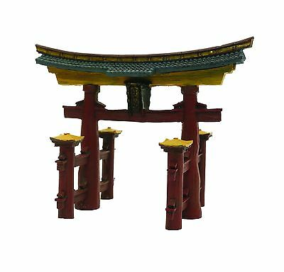 Rosewood Blue Ribbon Japanese Torri Gate Ornament Red/Gold/Blue One size
