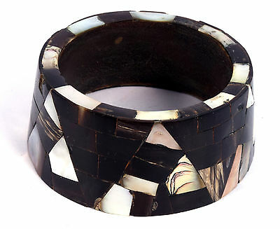Indian Wood Bangle Boho Mosaic Bracelet Mother Of Pearl Inlay Bracelet. i8-24