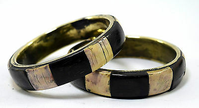 Pair Of Vintage Indian Brass Bangle Mosaic Wood Ivr Inlay Bracelet/Bangle. i8-39