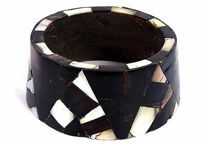 Indian Wood Bangle Boho Mosaic Bracelet Mother Of Pearl Inlay Bracelet. i8-22
