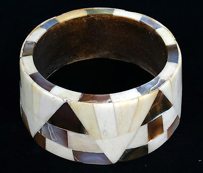 Indian Wood Bangle Beautiful Mosaic Bone Mother Of Pearl Inlay Bracelet. i8-6