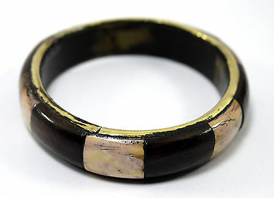 Rare Vintage Indian Jewelry Brass Bangle Wood Ivr Fittings Mosaic Bracelet.i8-49