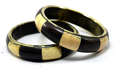 Pair Of Vintage Indian Brass Bangle Mosaic Wood Ivr Inlay Bracelet/Bangle. i8-34