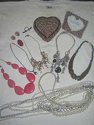 Misc Costume Jewellery Lot - Necklaces - Rings - Box - Frame - Fashion - Lot