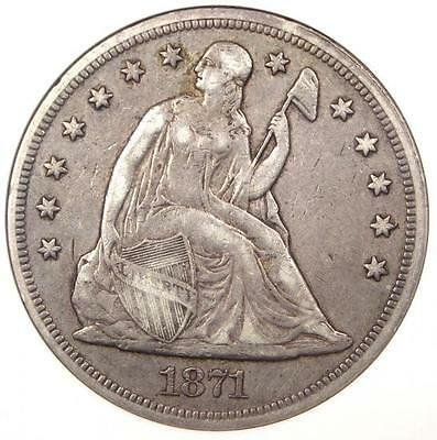 1871 Seated Liberty Silver Dollar $1 - ANACS VF30 - Rare Certified Coin!