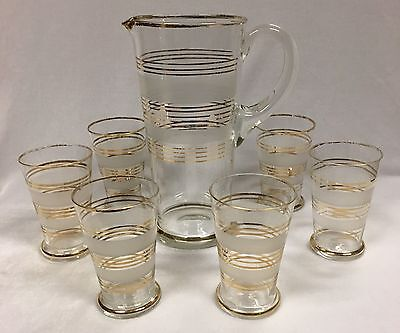Vintage 1950s Glass with Gilt Jug and matching 6 Glass Drink Set