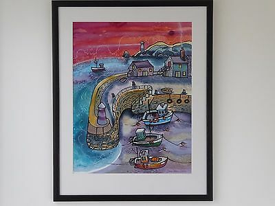 Large watercolour painting of a harbour by Welsh artist Dorian Spencer Davies