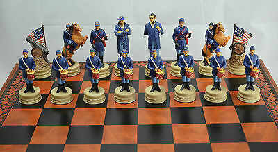 N°6898 SCACCHI GUERRA CIVILE AMERICANA HAND MADE 27 x 27 NORD VS SUD