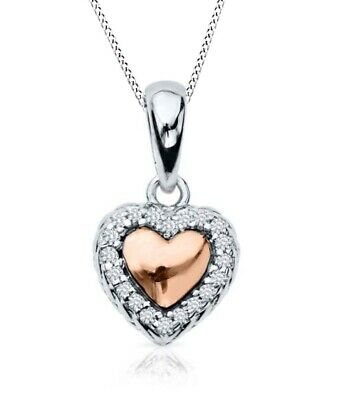 Holiday Sale Sterling Silver & 14K Rose Gold Over Diamond Heart Pendant