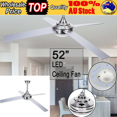 """White/Silver 52"""" inch LED Ceiling Fan 4 Wooden Blade With Light W/Remote Control"""
