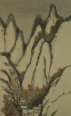 Hanging Scroll Landscape Japanese Painting Winter Snow Art Japan ink Picture t63