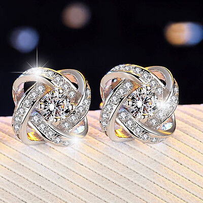 Sterling Silver Crystal Swirl Stud Round Earrings Wedding Jewelry Womens Gift