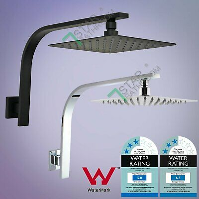 "WELS 8/10/12"" Square Rain Shower Head Gooseneck Wall Arm Set Matt Black/Chrome"