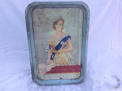 Vintage Willow Tin Tray Commemorating Queen Elizabeth's Royal Visit 1954