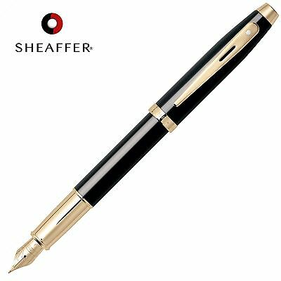 SHEAFFER 100 Calligraphy FOUNTAIN PEN Medium Nib Black Barrel in Luxury GIFT BOX