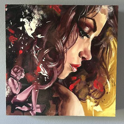 "Oil painting on panel 12""x12"" beautiful woman contemporary art by Greg Colligan"