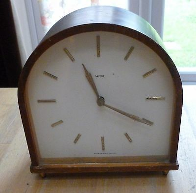 vintage smiths wooden mantle chiming clock with key
