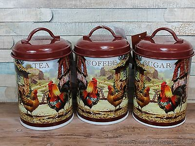 Cockerel and hen metal Tea coffee & sugar canisters kitchen storage jars