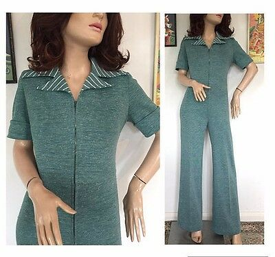 Vintage 60s 70s Glam Rock Striped Flared Jumpsuit Romper All In One 1 Piece Mod