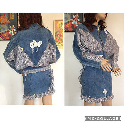 Vintage 80s Denim Leopard Print Mini Skirt Jacket Two 2 Piece Suit Set 90s Disco