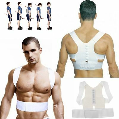 Magnetic Therapy Posture Corrector Body Back Pain Belt Brace Shoulder Support CI