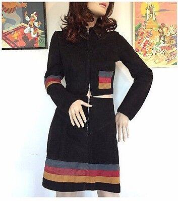 Vintage 60s 70s Suede Mini Skirt Suit 2 Two Piece Set Cropped Jacket Outfit 90s