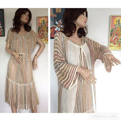 Vintage 60s 70s Crochet 2 Two Piece Set Dress Suit Bell Sleeve Kimono Robe Boho