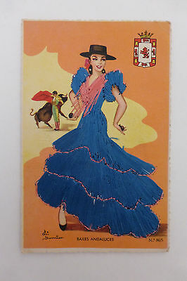 Vintage Spanish Embroidered Silk Dress Postcard Andaluces