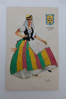 Vintage Spanish Embroidered Silk Dress Postcard Canarias