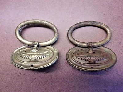 Antique Pair of Decorative Brass Drawer Pulls Oval Shaped Very Ornate Set NICE!