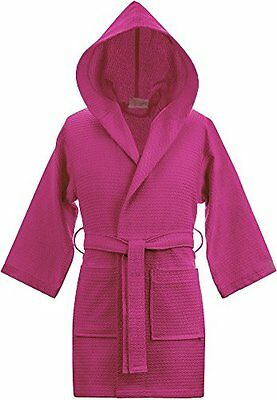 Kid's Hooded Waffle 100% Turkish Cotton Bathrobe (Small/Medium, Fuchsia)