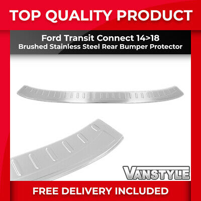 Ford Transit Connect 14+ Tough Brushed S.steel Rear Bumper Protector Trim Cover