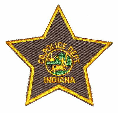 COUNTY POLICE DEPT INDIANA IN Police Sheriff Patch STAR SHAPE STATE SEAL ~