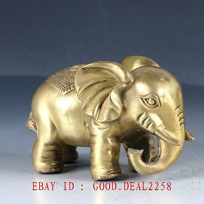 Old Chinese Brass Hand Made Carved Elephant Statue