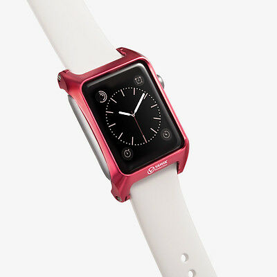 round edge protective case aluminum red for Apple Watch 42mm Leather Loop