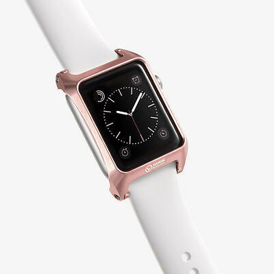 round edge protective case aluminum rose gold for Apple Watch 42mm Leather Loop