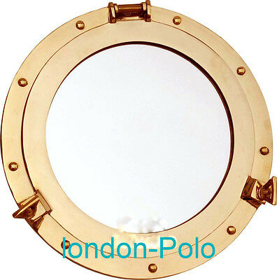Antique Brass Mirror Porthole Nautical Theme Latches Heavy Well Made