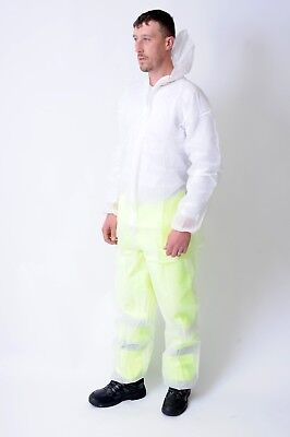 New Disposable Polypropylene White or Blue Boiler suit Coverall Overall Lab coat