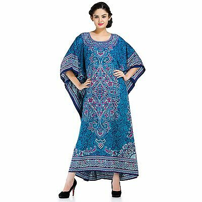 Blue Colored Paisley Print Beautiful Caftan Cover Up Dress