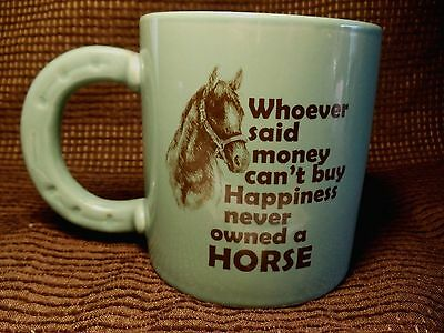 Cracker Barrel Coffee Mug Tea Cup Horseshoe Handle Money Buy Happiness Horse