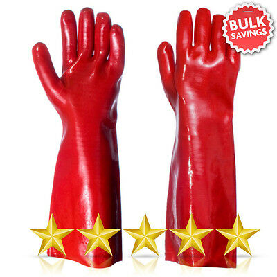 """Red PVC Rubber Coated Work Glove 16"""" Long Arm Heavy Duty Safety Gauntlet"""