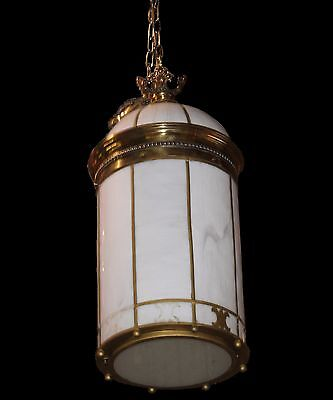Large Antique Art Deco Brass and Slag Glass Hall Lantern