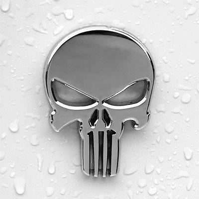 Punisher Metal Car Badge Sticker Punisher Logo Decal - Silver Colour - CB0001