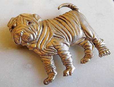 Signed Sterling Silver Shar Pei Dog Brooch Pin with Ruby (?) Eyes