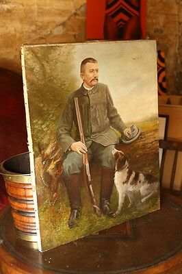 """Early 20th century Oil on canvas painting of a man and his dog """"L.Jastenoe"""" 1904"""