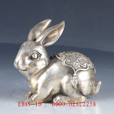 Old Chinese Silver Bronze Hand Made Carved Lovely Rabbit Statue