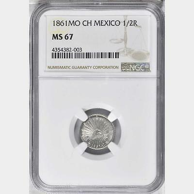 1861 MO CH Mexico 1/2 Real, NGC MS 67, Sole Finest @ NGC, Superb